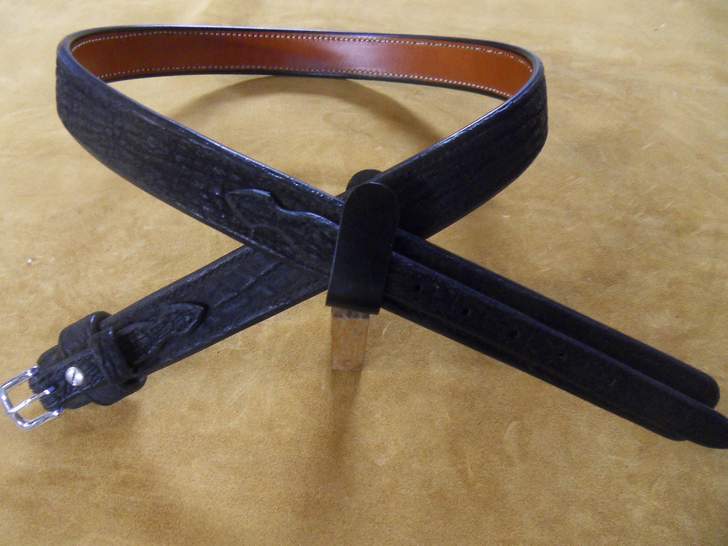 "9240 - 1 1/2"" Ranger Belt, Black Elephant Trunk, 43"" Waist, $600.00"