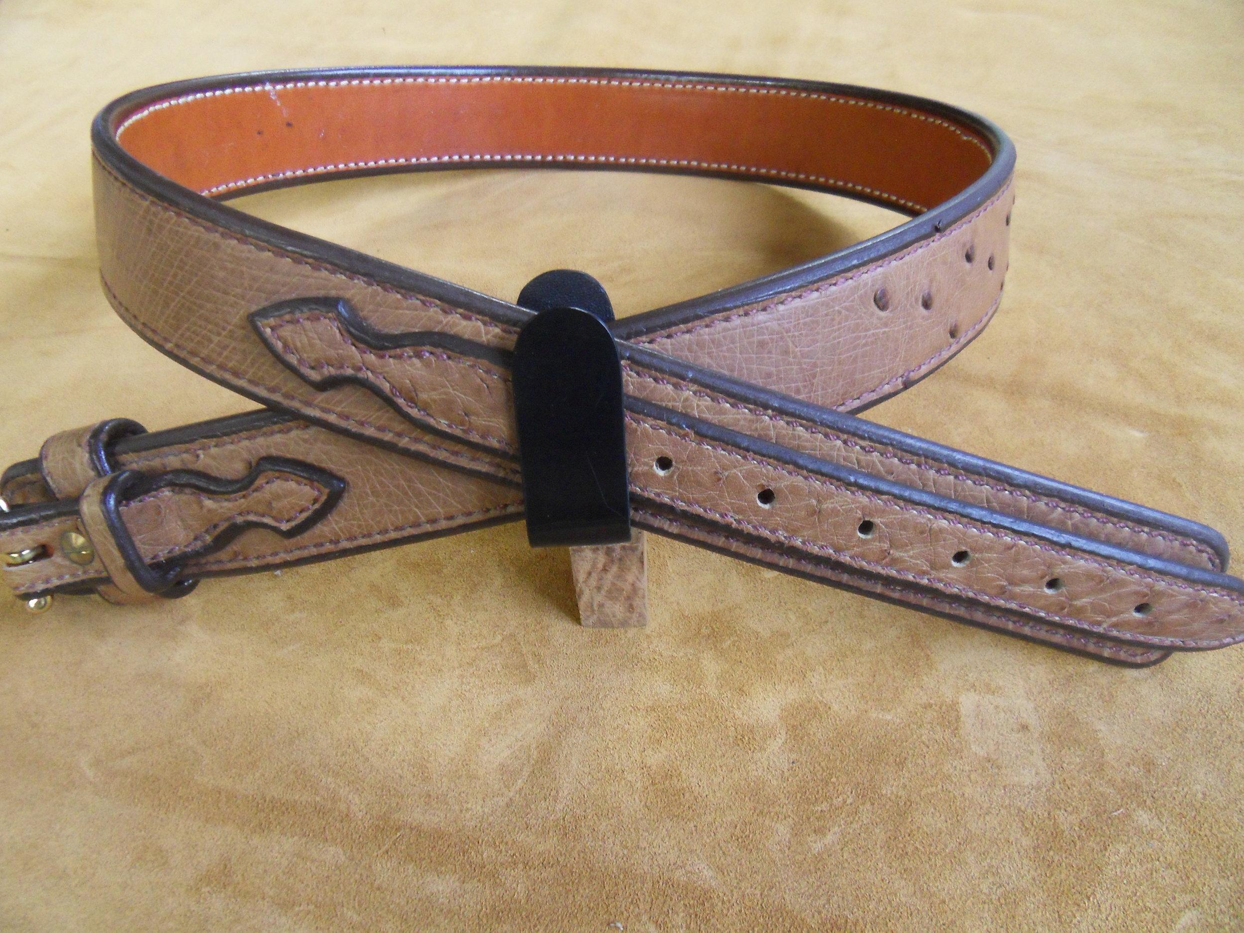 """9216 - 1 3/4"""" Tan Quilled Ostrich Ranger Belt, 39"""" Waist, $500.00"""
