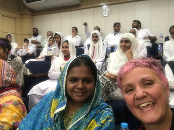 Meeting the women who are taking the motorcycling class at the Atlas-Honda factory, Pakistan.
