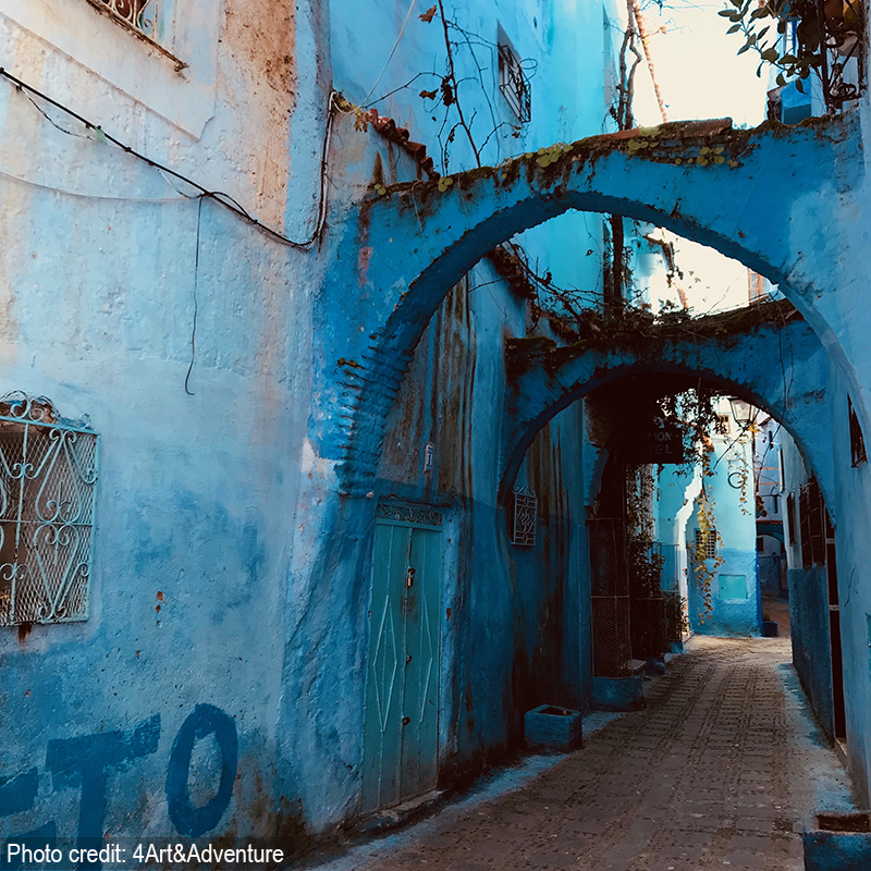 Chefchaouen, the Blue City. The first people to paint their homes light blue were the Jews, then the Arabs came along and added different shades of darker blue. Then the Spaniards came and left parts of their buildings the color of the earth, terra-cotta.