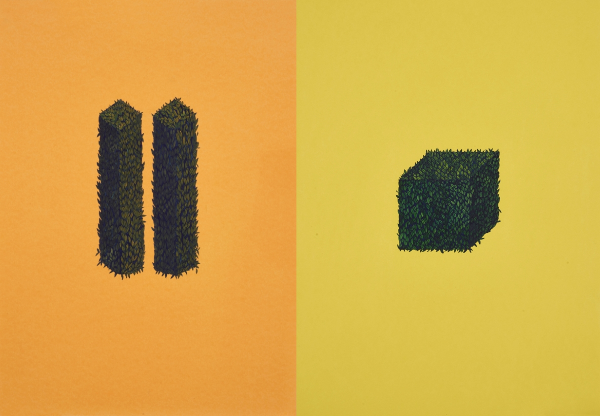 Two Pillars , 2017 (Left) -  A Cube , 2017   (Right). Photos © Usman Javed