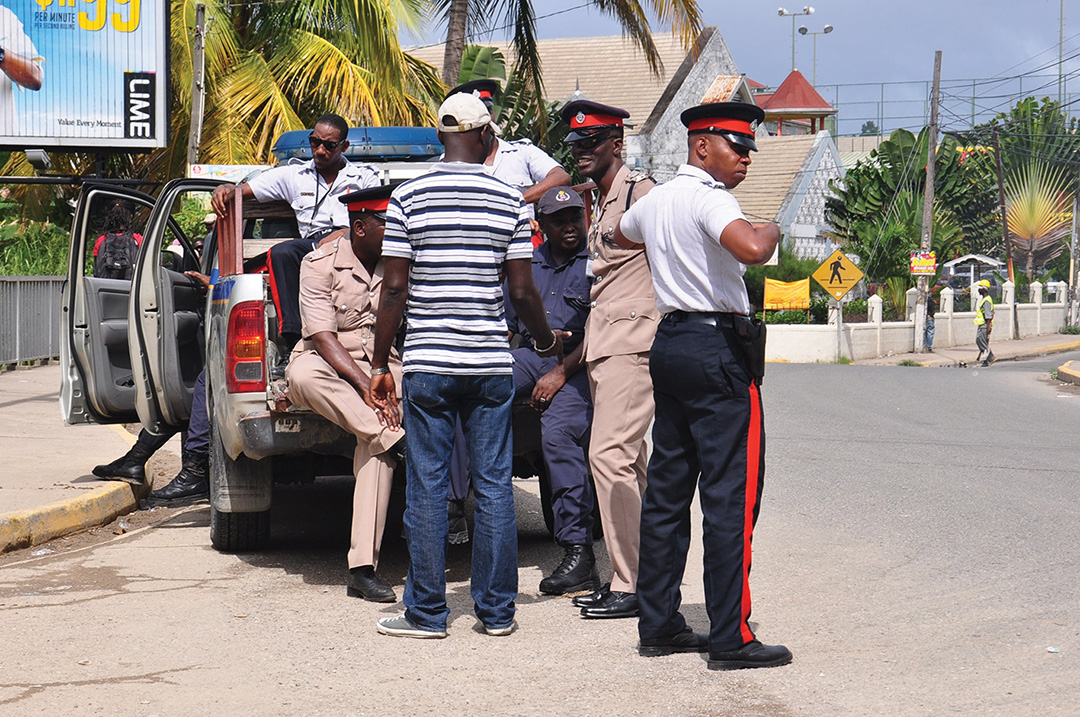 A man helping the Ochi Police with their enquiries