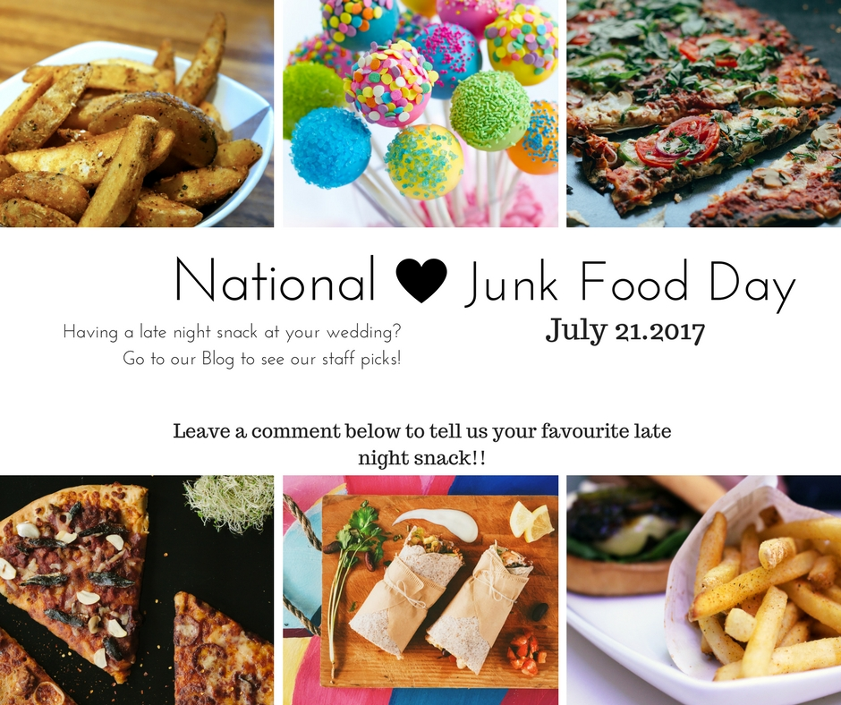 Happy National Junk Food Day!  Late night snacks are becoming a very popular trend at weddings, especially for young couples. After having a few drinks you and your friends will be looking for something fun and casual to eat while going on and off of the dance floor! Below are a couple of our staff favourites for the late night snack!  -Poutine  -Pizza  -Tacos/Burritos  -Candy Bar  -Hotdogs  If you have a favourite late night snack comment on our Instagram page and we can add it to the list! @absolutesounds