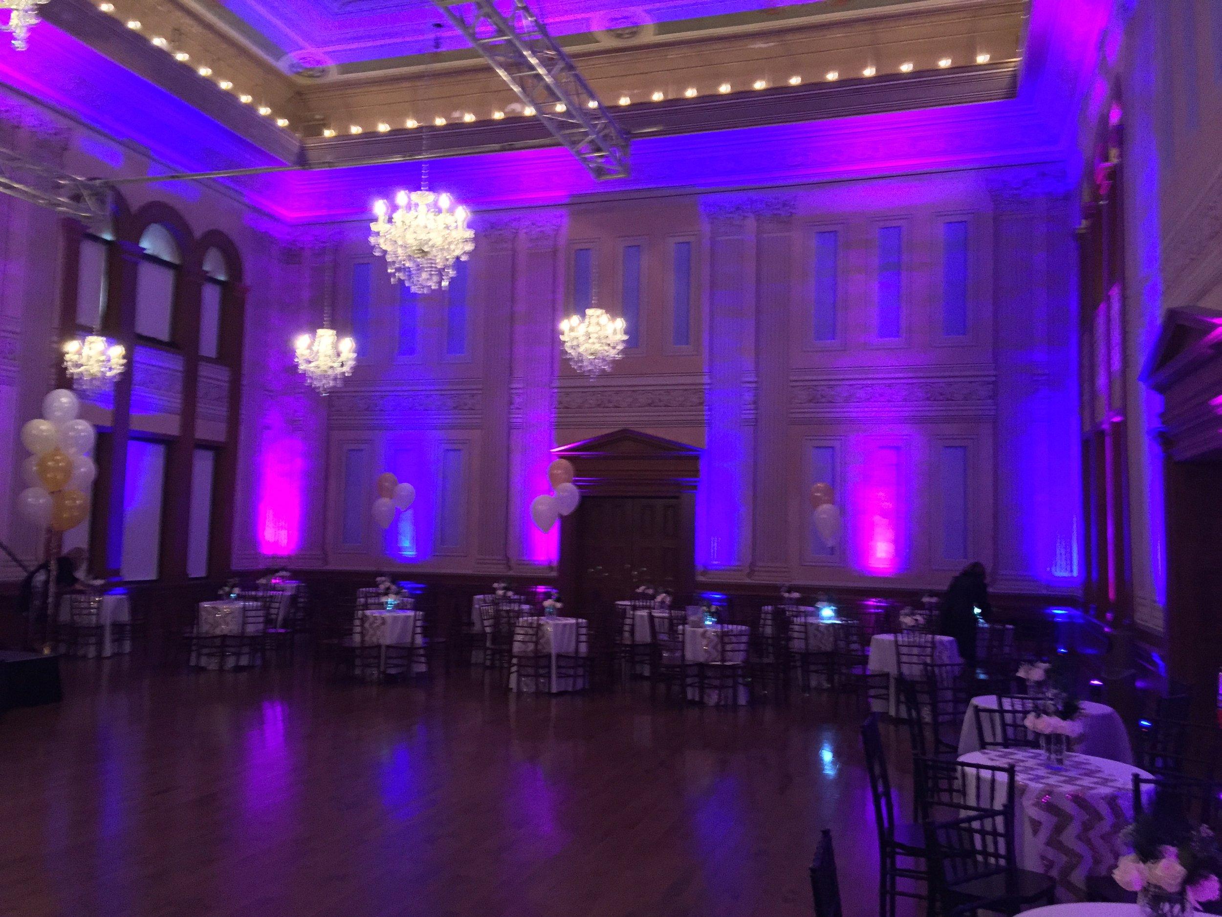 uplighting Victoria hall Coburg wedding