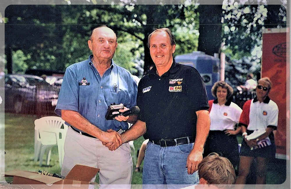 Legendary race promoter Gus Traeder and South Park Legend Mike Birdsell, veteran of every race run in South Park (1997).