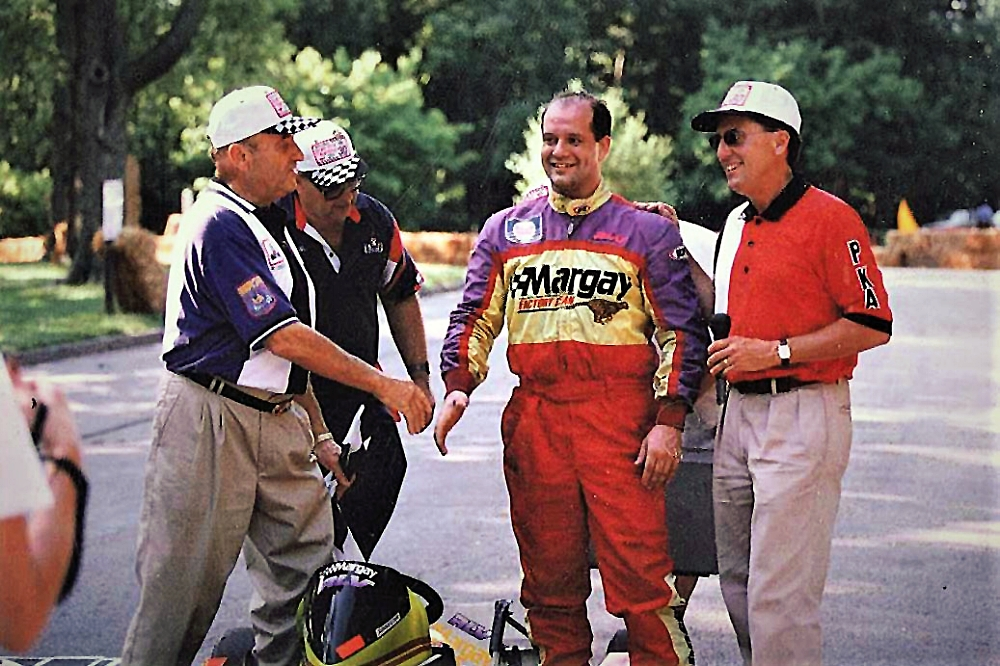 Gus Traeder congratulates South Park Legend Scott Evans (center) in 2001 as Scott reaches the milestone of 27 wins to tie Terry Traeder (right) for the most all-time wins at South Park.