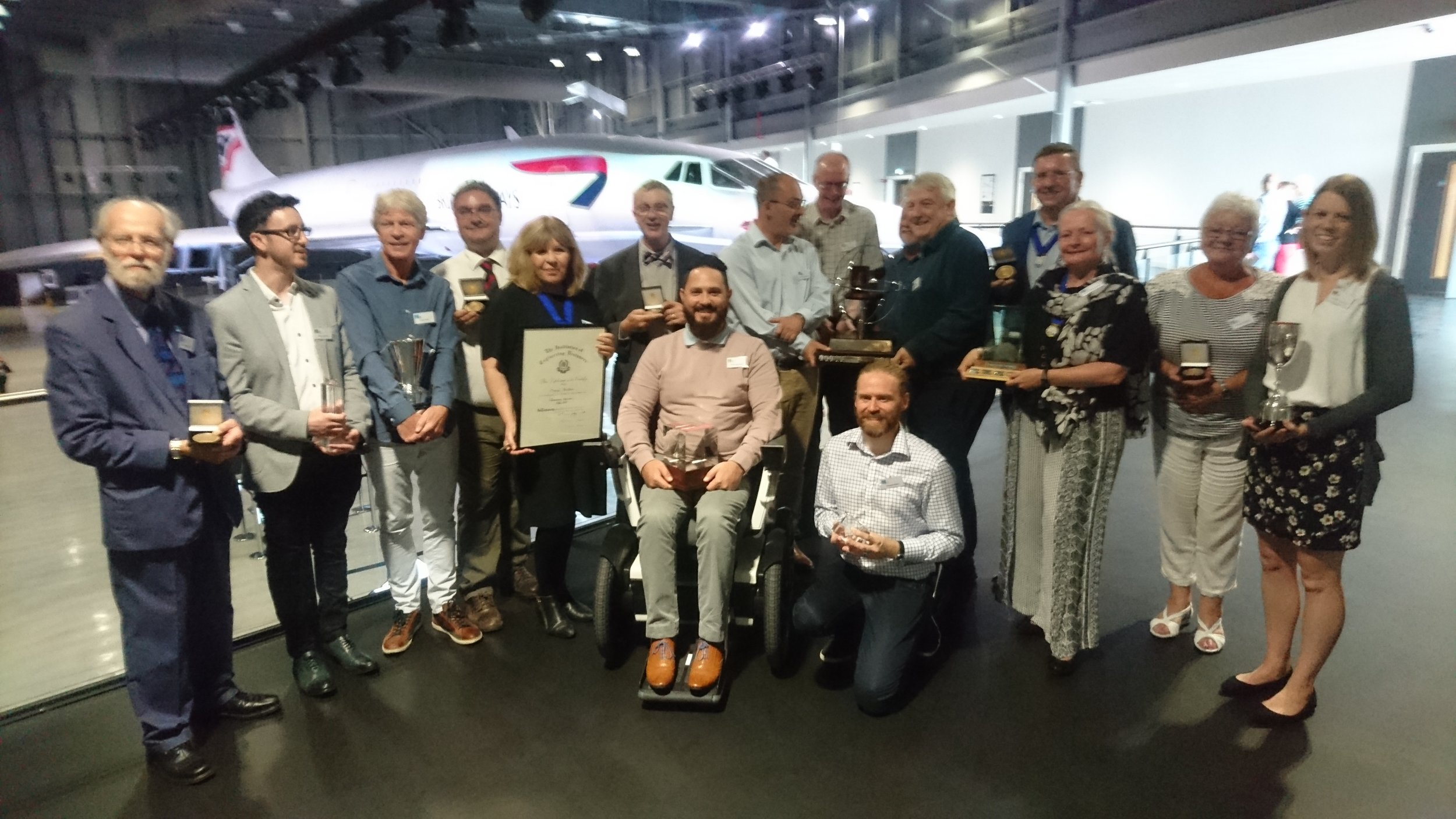 Phil Eaglesham, winner of the Alex Moulton Award 2018, with other IED Award Winners at Aerospace Bristol.