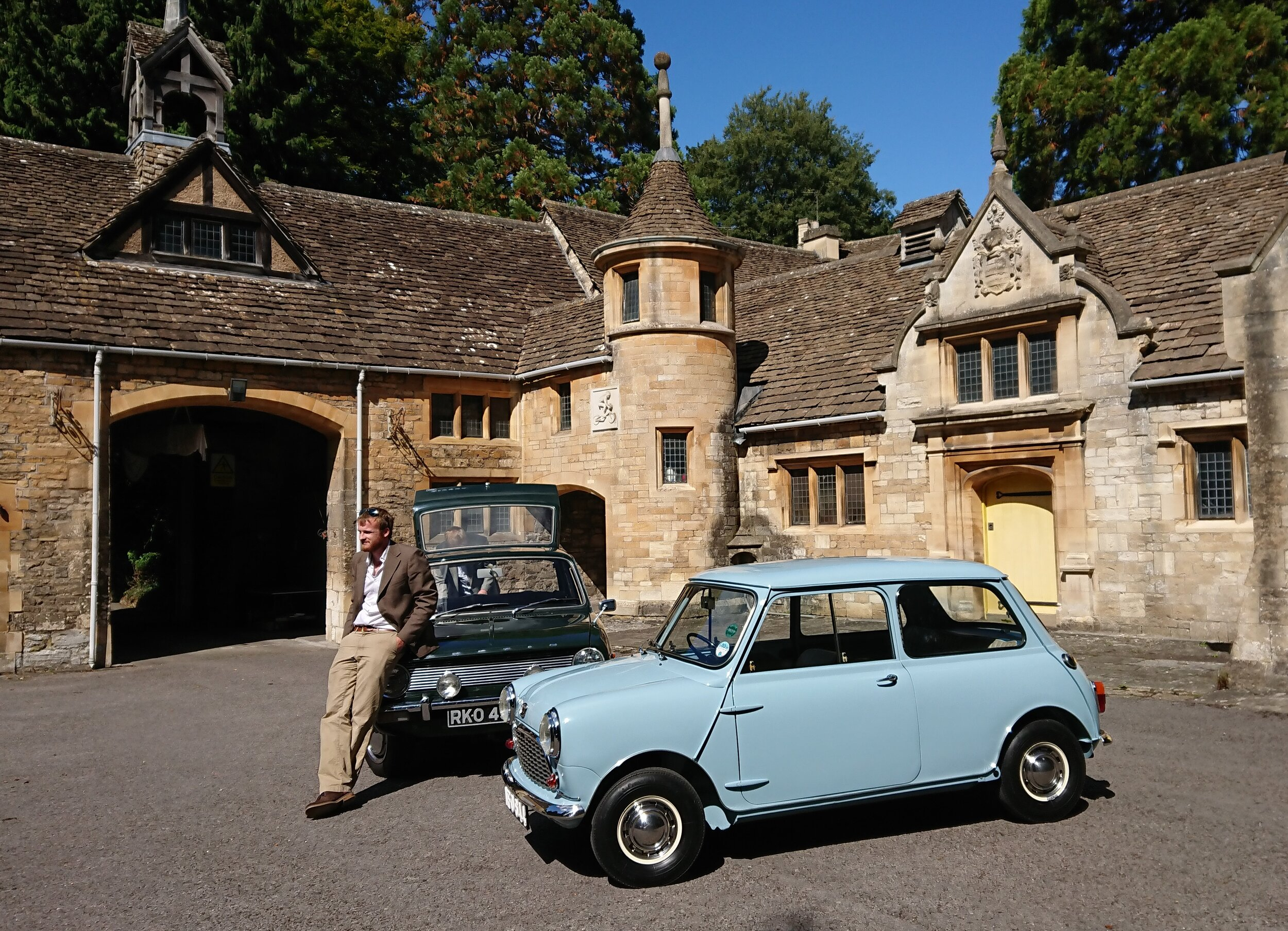 Maxi and Mini resting outside the workshop where Alex Moulton developed their innovative rubber suspension systems.