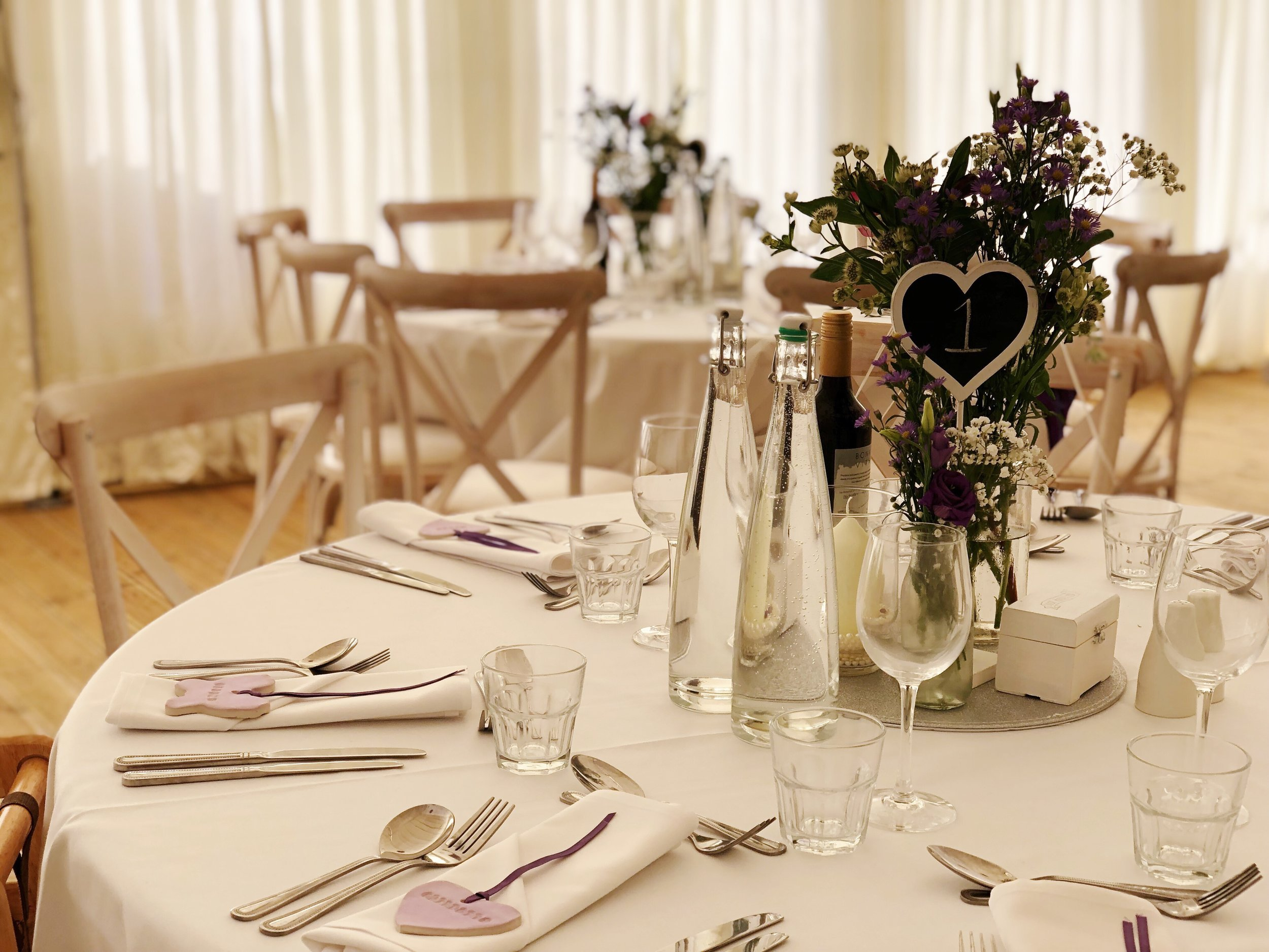 The wedding breakfast - Choose three courses from our Bronze, Silver or Gold menu in our fully heated garden marquee