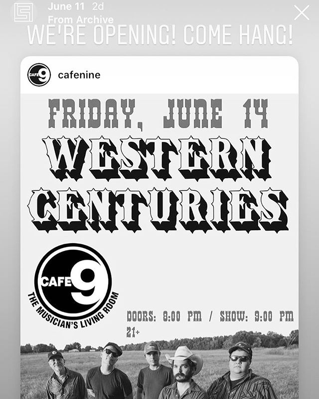 Show tomorrow at @cafenine opening for @western_centuries come hang!!!