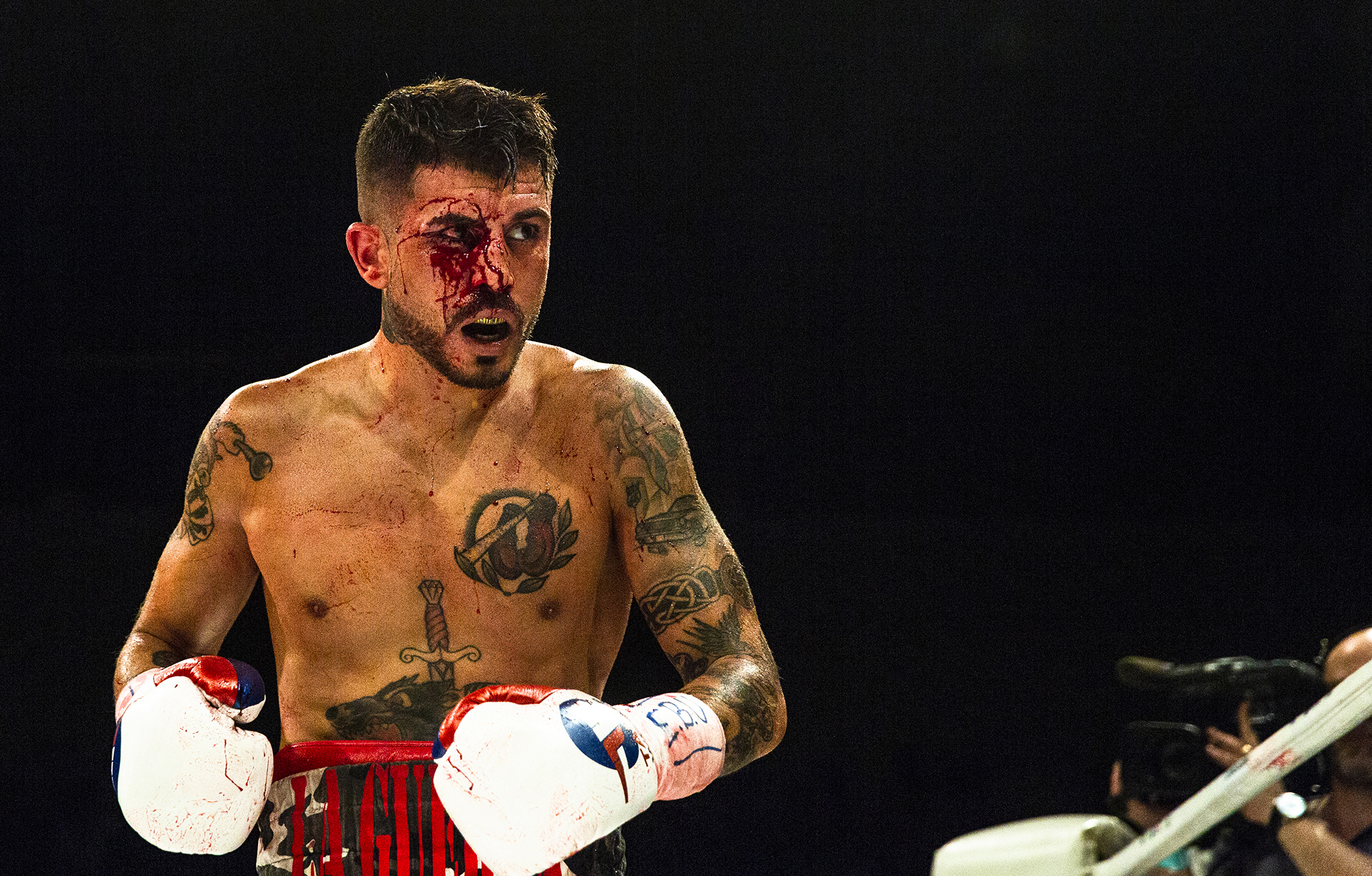 Marc Vidal is hit and cut twice during the first two rounds.
