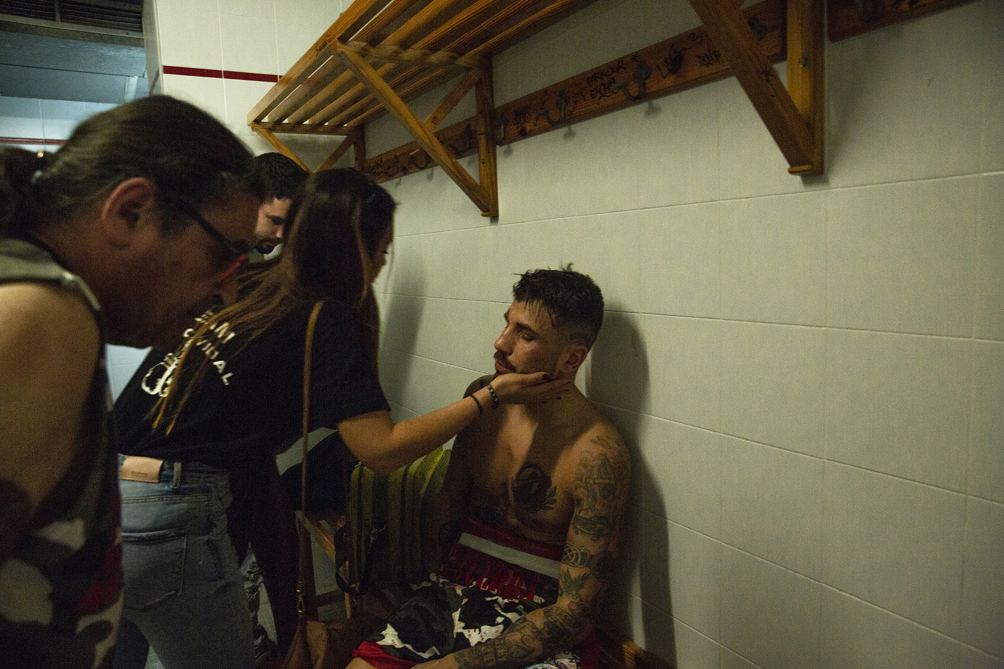 In the locker room of the winner Marc Vidal after the bout.
