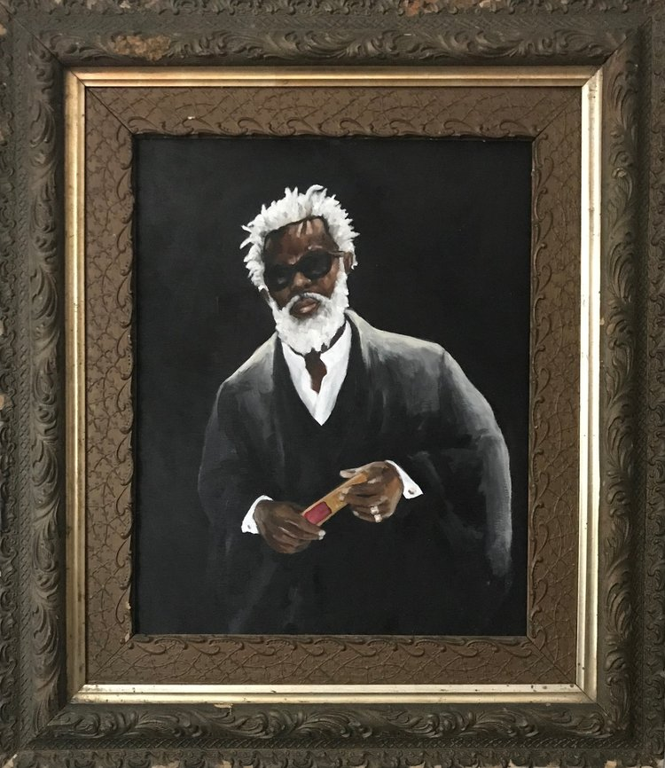 Sleight of Hand  15.5 x 19.5  acrylic on wood, antique frame