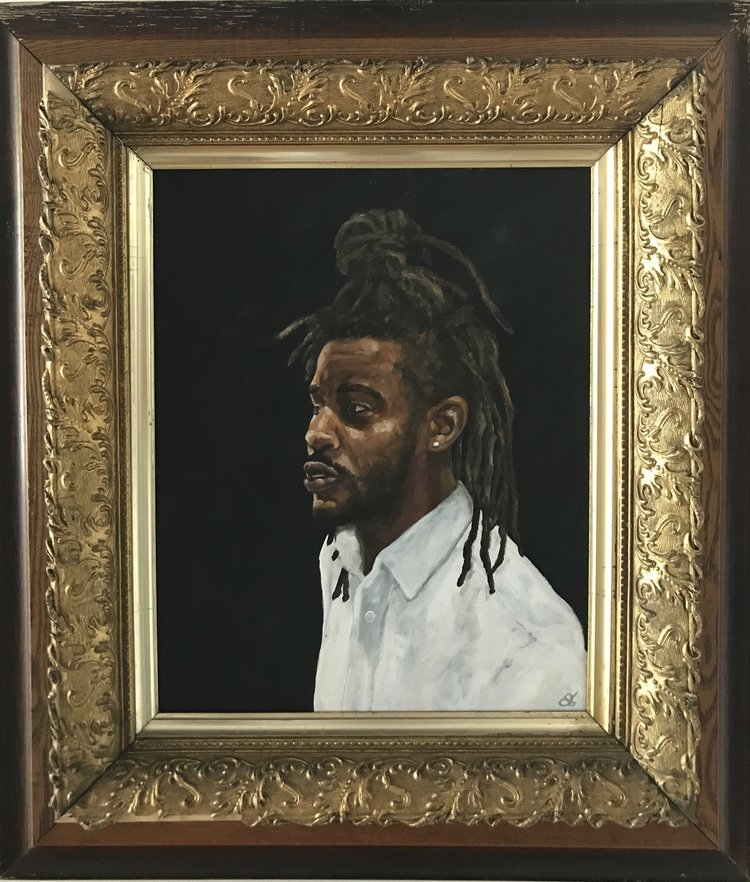 Affiliated  16 x 20  acrylic on wood, antique frame