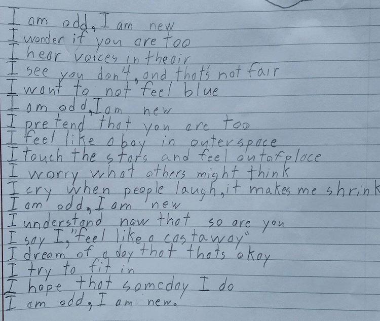 "Ben's breathtaking poem entitled ""I am odd, I am new."""