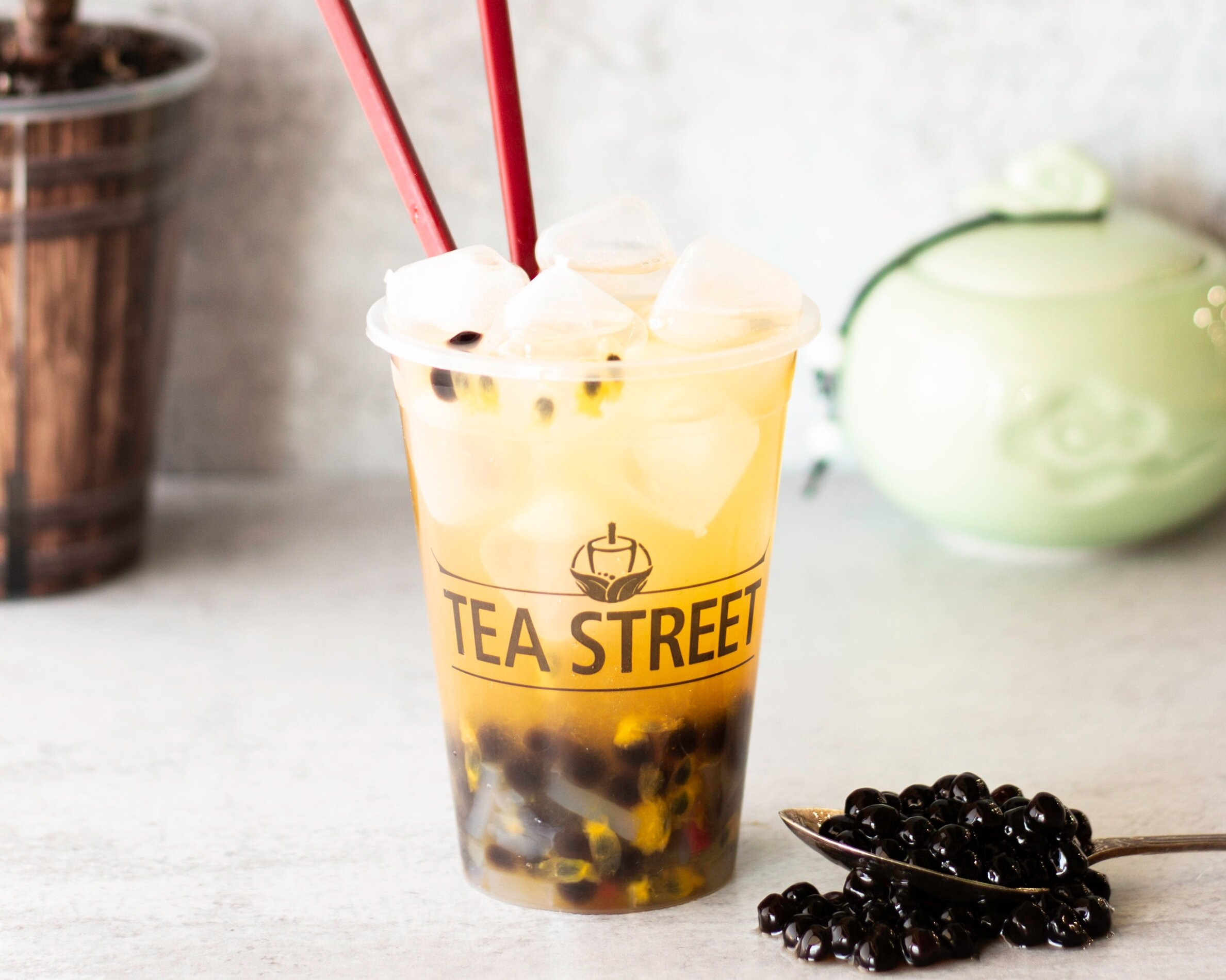 Passion Fruit w/Boba + Coconut Jelly