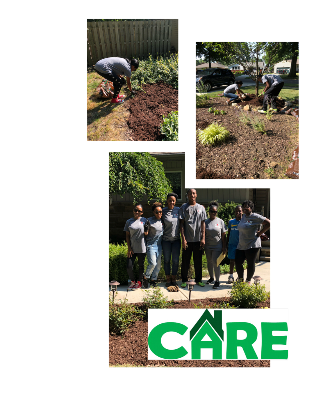 July 2018 - Dream Halo had the opportunity to help the community alongside New Community Bible Fellowship of Cleveland Heights, Ohio and their #makeclevelandbetter initiative! We helped maintain and lay mulch in the front yard of a beautiful couple's home. They were so grateful but we were also so grateful for the ability to serve them during their need. We hope to continue our partnership with the Care Program.If you're someone who would like to spend some time during the week volunteering to help senior citizens live a better life by performing routine maintenance or home repair, the CARE Program is for you!To learn more about the Care Program, Click below!