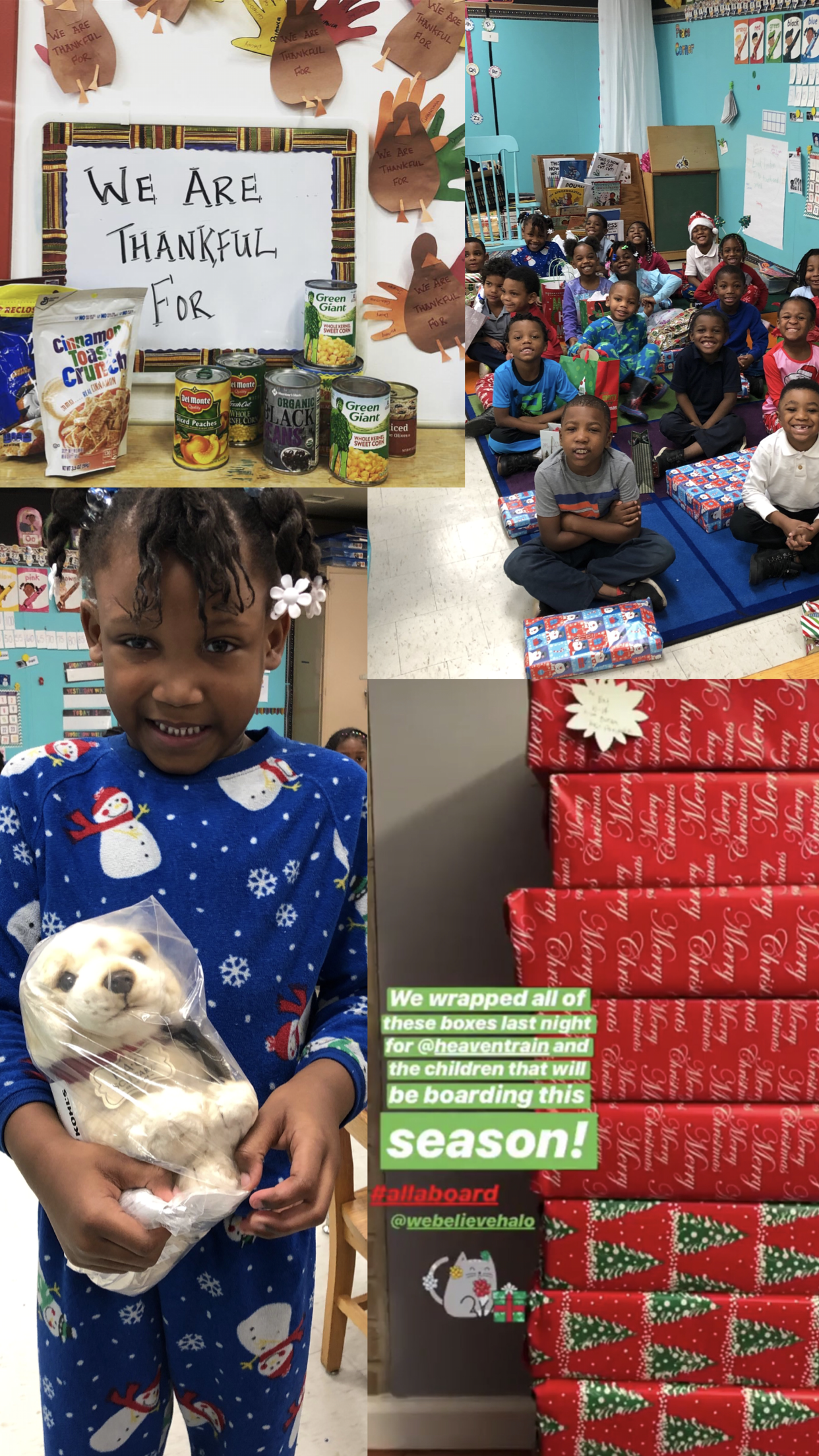 November- December 2018 - This Holiday season, Our team gave back in a huge way! In collaboration with #givingtuesday we decided to ask our guest at a Thanksgiving inspired, Friendsgiving to bring can goods and other non-perishable goods for those in need. We were able to donate those items to the YWCA of Greater Cleveland. In December, we partnered with HeavenTrain, a mobile community organization that brings a spiritual word as well as food and clothing to an under-served community in Cleveland area. We gifted 10 surprise boxes for boys and girls to be distributed throughout the holiday. Lastly, We were able to give gifts to a local classroom in another under-served Cleveland community. We were so honored to serve so many and hope that they will be forever touched as we are.To learn more about the HeavenTrain, Click Below!