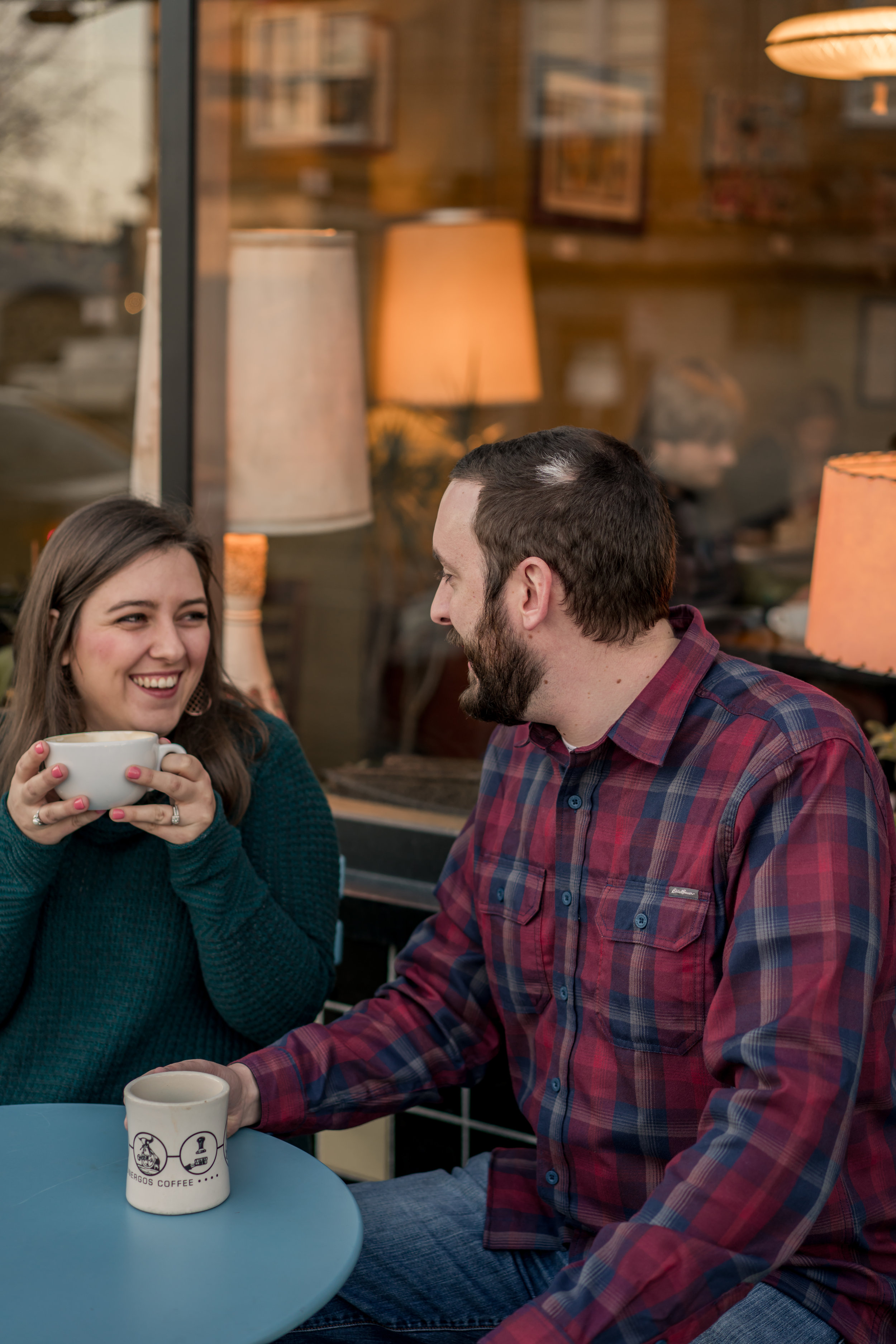 Couple photo coffee shop field photo louisville photographer