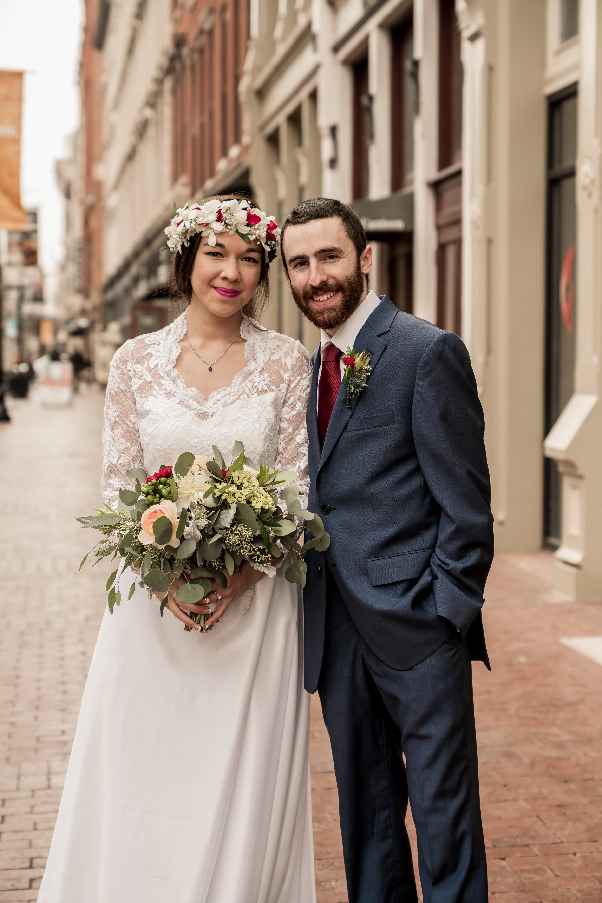 field photo wedding bride and groom