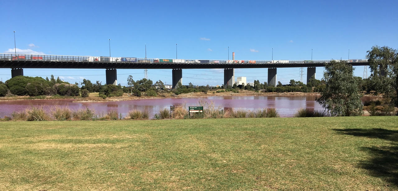 The Westgate Bridge and the pink lake.