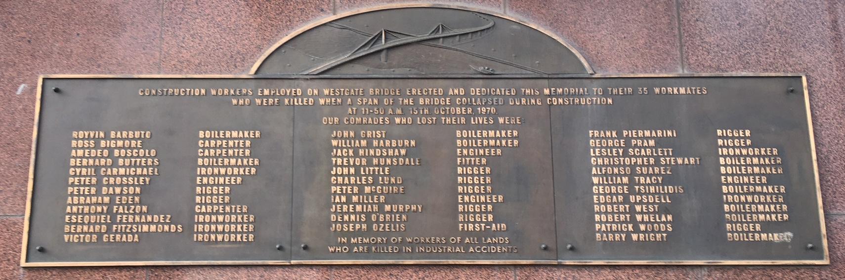 Memorial to Westgate Bridge Disaster