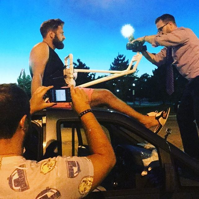 #tbt filming the video for #IllTakeForever in downtown #cantonohio the only place we could get away with filming while on top of a moving vehicle // 🚗🧔🦏 //#BeardedRYNO #rynomusicnyc