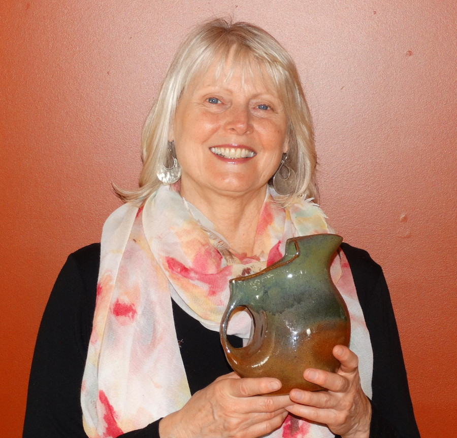 Janet with pottery pitcher.