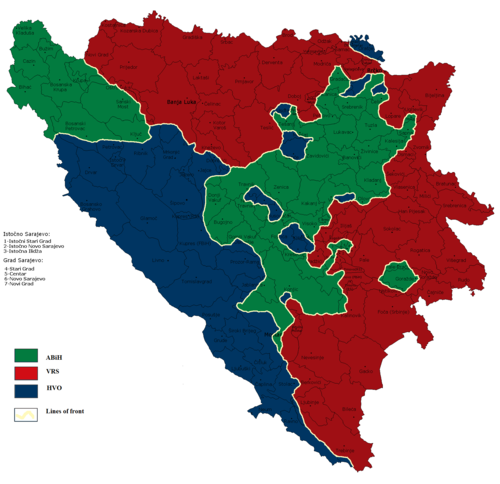 Territories in Bosnia held by each of the three factions, ABiH (Bosniaks, green), VRS (Serbs, red), and HVO (Croats, blue), shortly before the war ended. From    Wikipedia   .