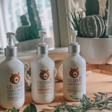 """A beautiful re-post from @helbellee ✨ . """"For a start they smell literally amazing! The coconut oil is so strong and it reminded me of being on holiday! . We have used them for a few baths and hair washes now and I have been very impressed with them. Scarlett's hair is so long and we have tried lots of different shampoos and conditioners. The Cocobare products were lovely on her hair, made it smell lovely and I especially liked the fact that they are MIT, paraben and palm oil free. . I used the body wash on both girls and again, it smells delicious and it's also free of synthetic ingredients. Cocobare are passionate about creating products that keep chemicals away from our babies skin and so reduce the chance of rashes or irritations. I have been so lucky with my girls that they haven't had any problems but I don't want to risk it so this is the perfect body wash for them! 🥥 ⠀ I also used the shampoo and conditioner on my hair, just for extra testing purposes of course and I can confirm it's lovely to use!""""⠀ . ON SPECIAL THIS WEEK!"""