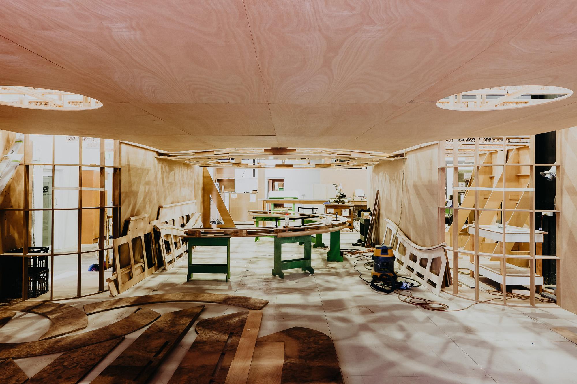 Luxury Superyacht construction in the workshop