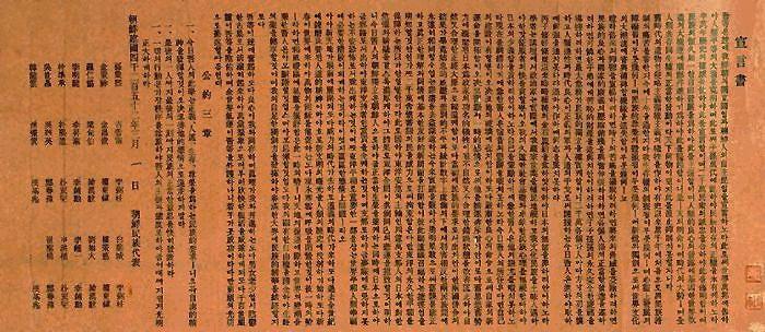 1919年3月1日,以孫秉熙為代表的朝鮮獨立國民團,在明月館頒佈《獨立宣言書》 圖片來源:網絡