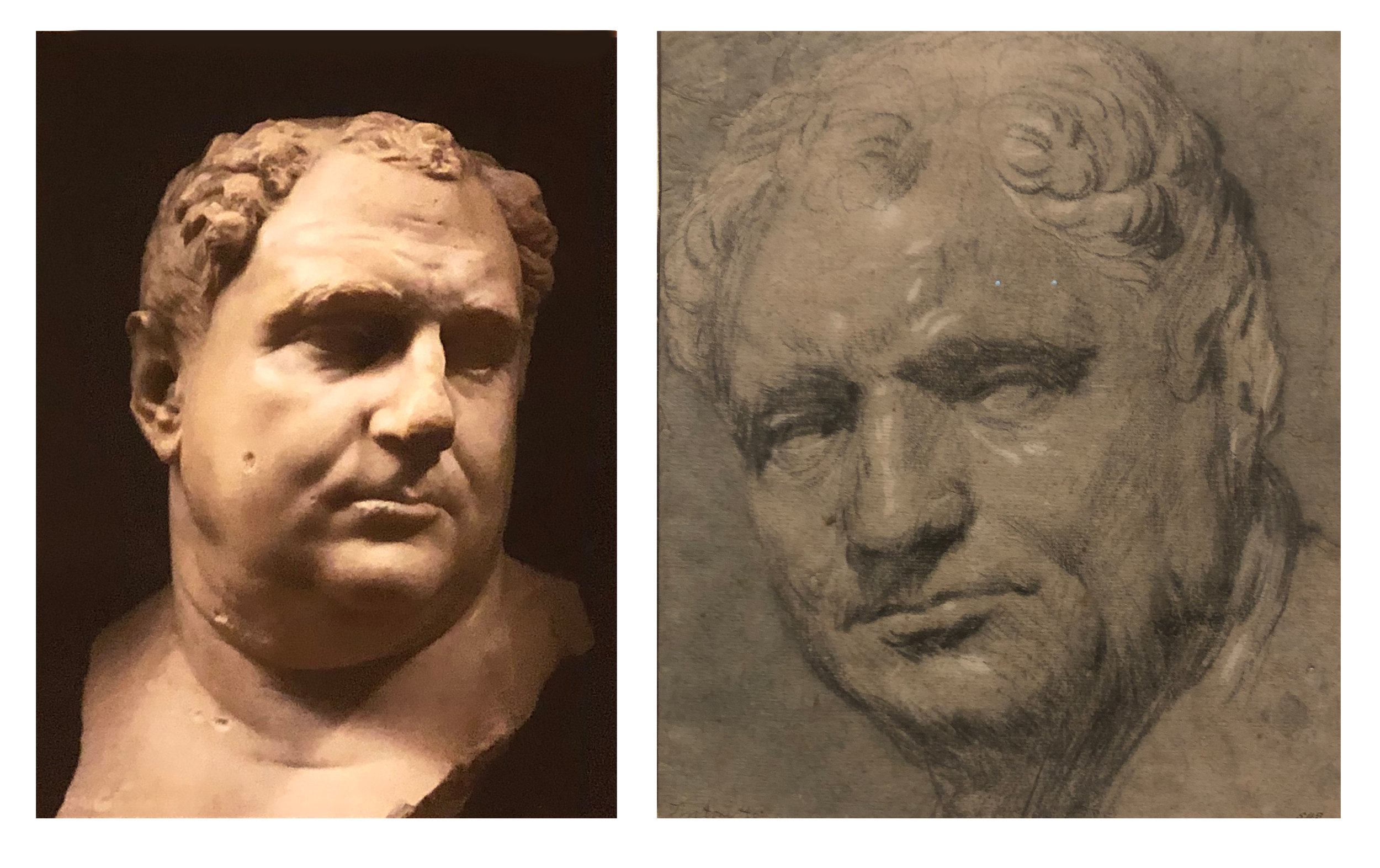 Left: Portrait of a Man, Vitellius c. AD 100-150, Museo Archeological Nazionale, Venice  Right: Study after a Bust of Vitellius, Tintoretto, Staatliche Graphische Sammlung, Munich. Now on show at the National Gallery
