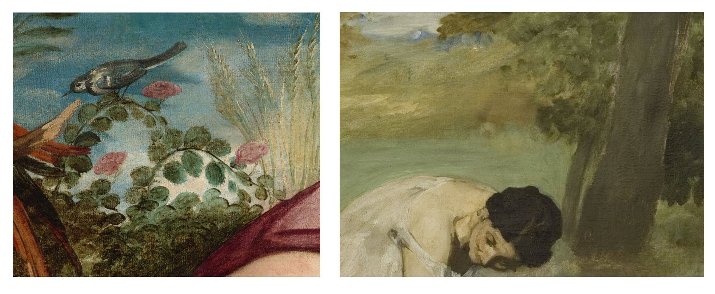 Left: Summer, Tintoretto, National Gallery of Art  Right: Le Dejeuner Sur L'Herbe, Manet, Muse D'Orsay, Paris