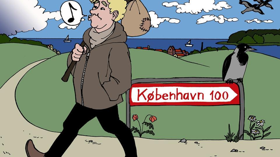 """Tegning: Anne-Marie Steen Petersen for Politiken. Bragt i politiken ifm. artiklen """" 25-årig Folketingskandidat fra Langeland: Tving alle københavnere på forlænget weekend i provinsen"""""""