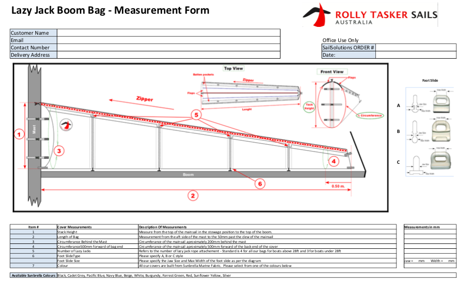 Lazy Jack Boom Bag Measurement Form