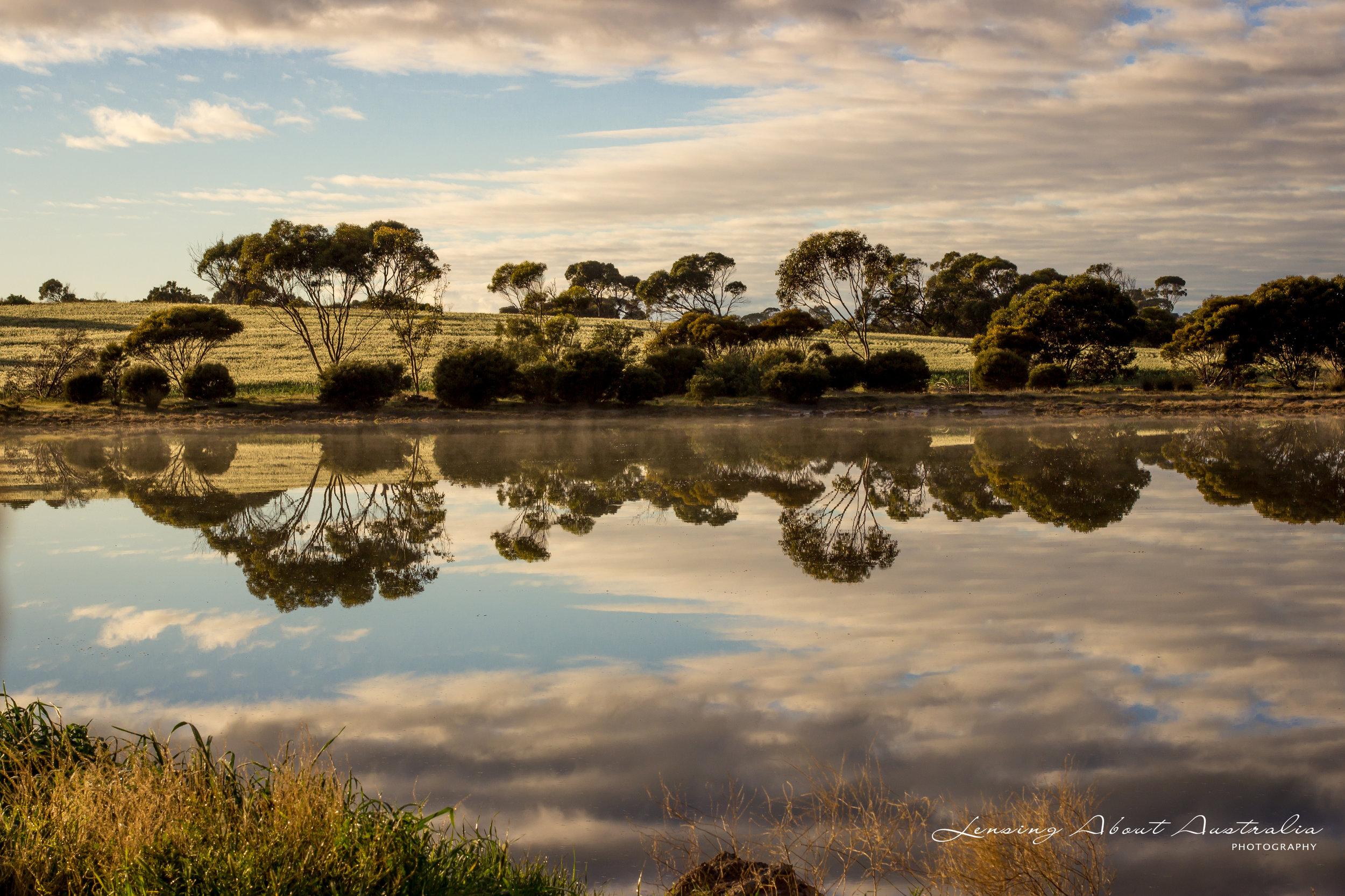 Minlaton, South Australia. Salt water wetlands reflection. Cannon EOS 600D, 50mm, ISO 100, f11, 1/200sec.