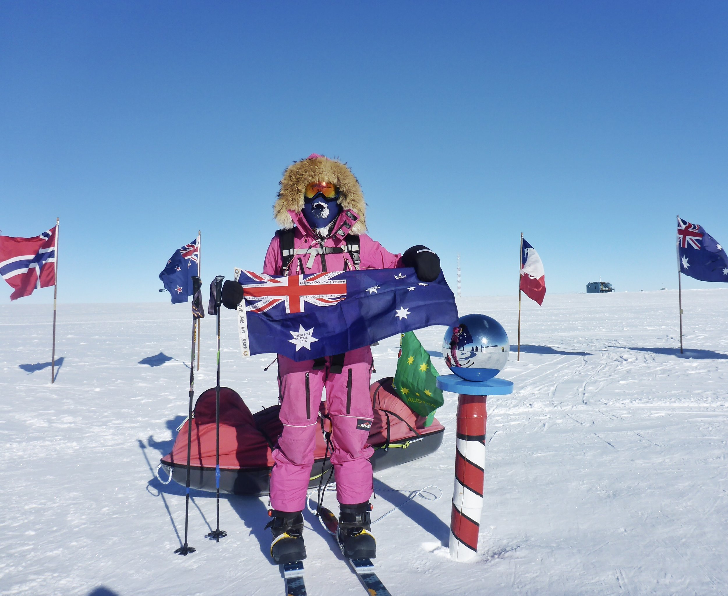 Arrival at the South Pole after 37 days of skiing from the coast