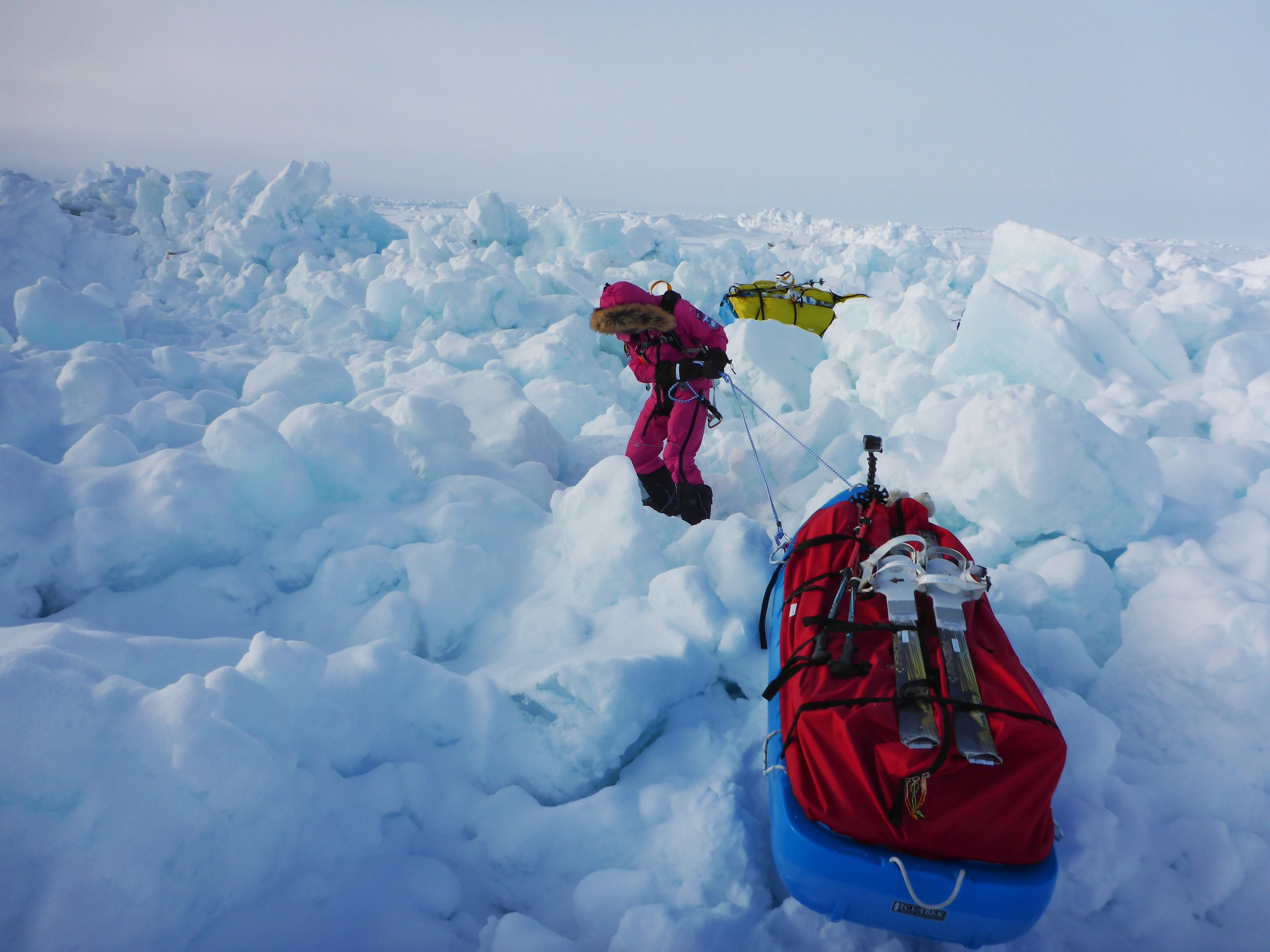 Jade making her way through a large compression zone towards the North Pole, age 14