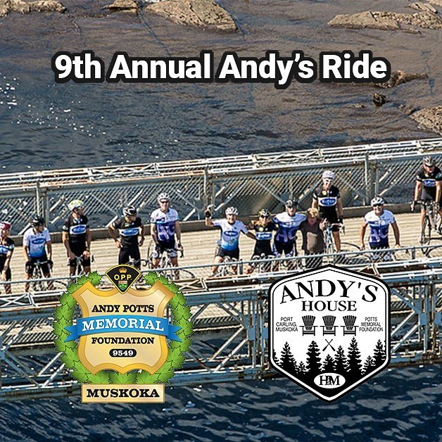 """Join us Sunday July 28th for the 9th Annual #andysride !  Choose from route distances of 80 and 100 kms. This ride is unique in that each ride group is OPP escorted.This year is special as """"Andy's House"""" will be completed by this October.We have lowered the entry fee as a celebration of the opening.  Entry fee is $125.00 which includes a taxable receipt from Hospice Muskoka and the funds raised go to Andy's House!  Your fee includes an Andy's House jersey by Jakroo if you order by 30 June, post ride refreshments created by """"Chefy"""" of Cottage Life fame and cold beverages  Come out and enjoy a unique ride on the roads in Muskoka!  #ontariocycling #cyclingevents #cycling #torontocycling #ontariocyclingevent #roadcycling #muskokacycling #muskoka #andyshouse #torontocyclingevent #torontocyclist #roadcyclingevent #roadcyclist #policeescort #opp #ontarioprovincialpolice"""