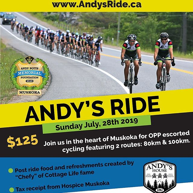 Andy's Ride 2019! #andysride  July 28th, 2019 @ 8:30 AM Port Carling Community Centre  To Register and for additional information please visit - www.andysride.ca  The ride is in support of @andyshousemuskoka , @hospicemuskoka opening Fall 2019! $125.00 registration fee includes gourmet lunch and Jersey for first 50 registrants  #andyshouse #andyshousemuskoka #muskoka #portcarling #muskokalakes #charityevent #cyclingevent #ontariocycling #roadcycling #opp #ontarioprovincialpolice #hospicemuskoka