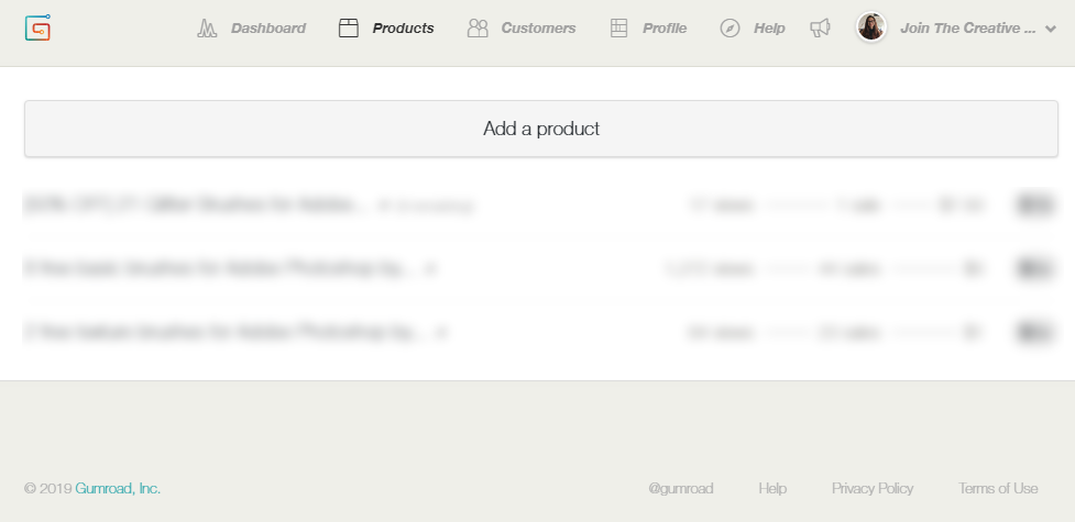 - At the top menu, tap the ''Products'' tab. This is how my products tab looks like, but if you just opened your account, yours should be empty. To add your first product, tap the button ''Add a product'' (Stating the obvious here, hehe).