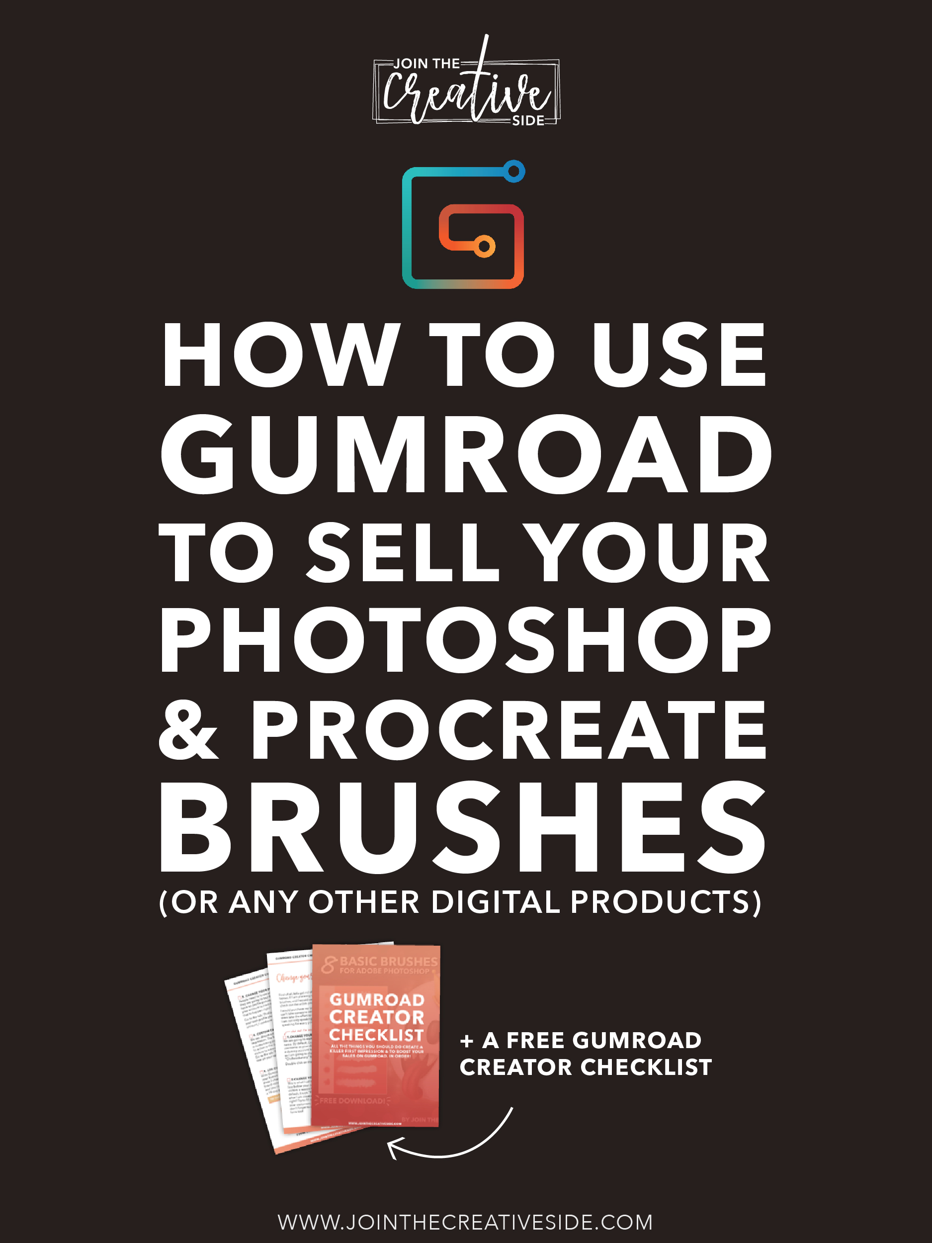Ever thought about selling your own custom digital painting brushes or other digital products? This article is for you! I am going to show you how you can add your first product to Gumroad! Gumroad is a platform that makes it possible for artists like you to sell your products to customers with ease.  Don't forget to download your free Gumroad Creator Checklist! #gumroad #makemoneyartist #photoshopbrushes #procreatebrushes  #sellart #makemoneyonline