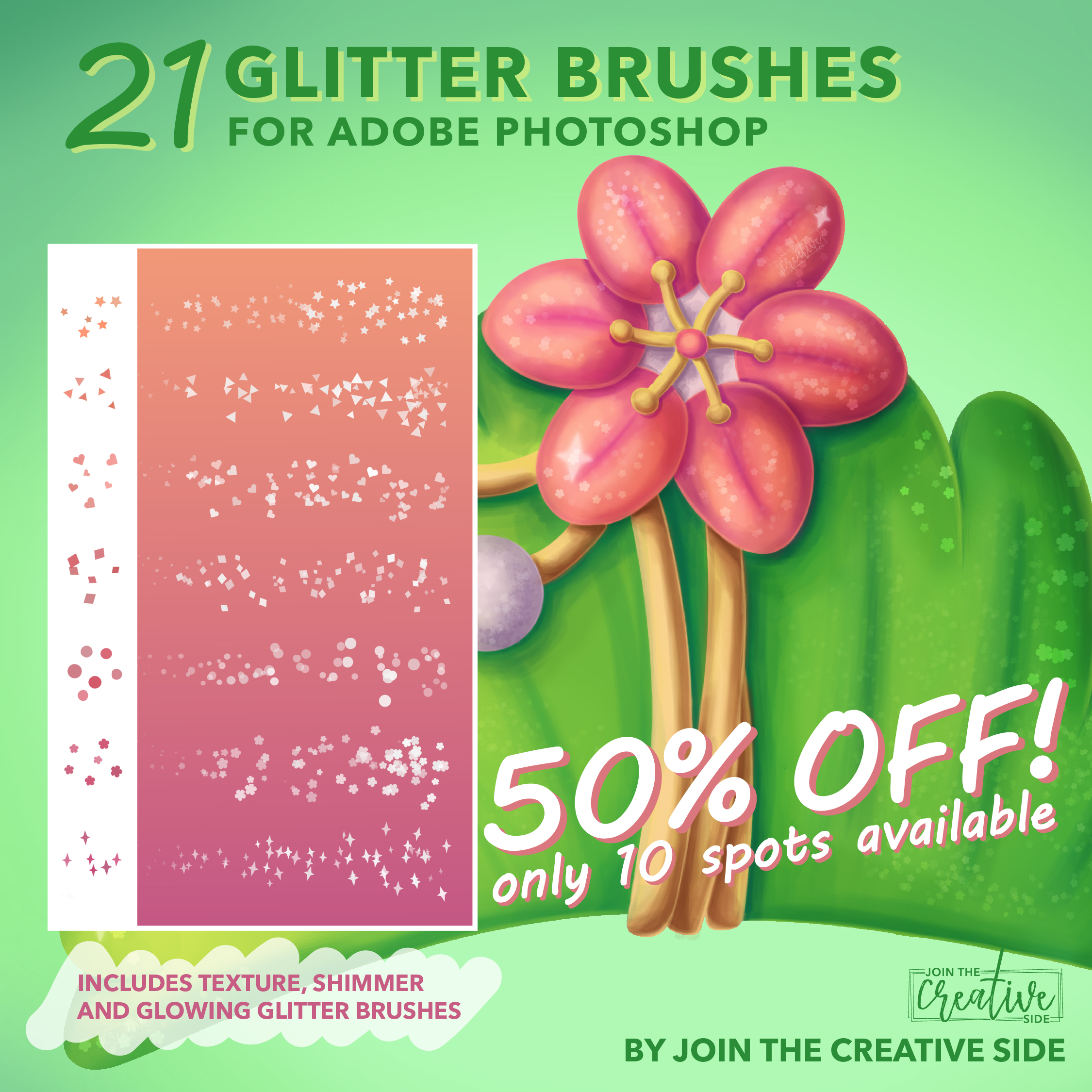 21 Glitter brushes for Adobe Photoshop by Join The Creative Side