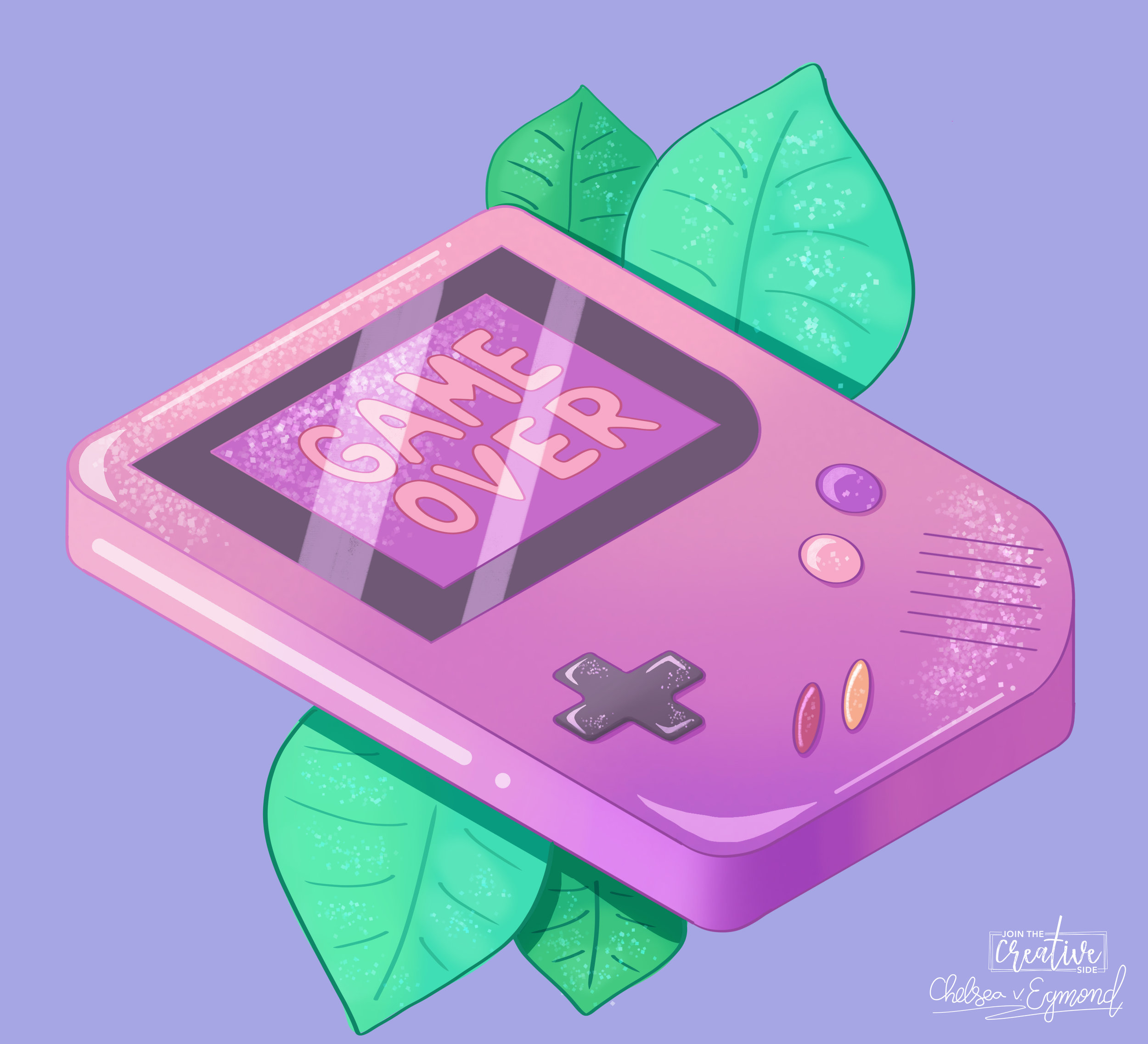 Glitter Gameboy Digital painting by Join The Creative Side.