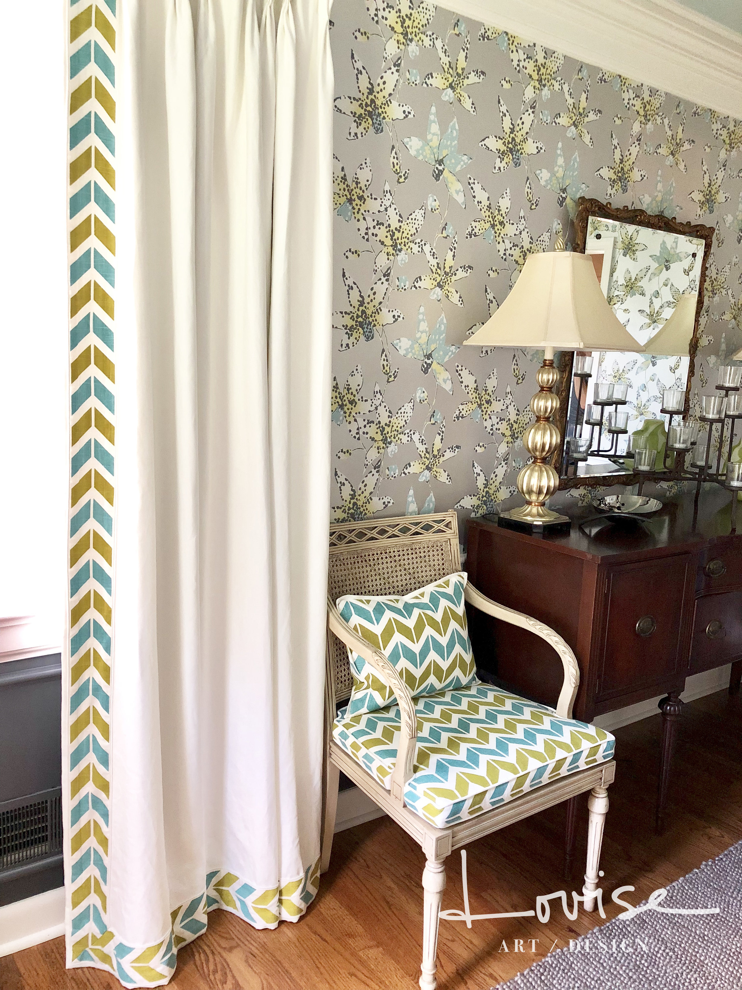 Dining room with metallic orchid wallpaper, custom draperies with teal and chartreuse chevron details