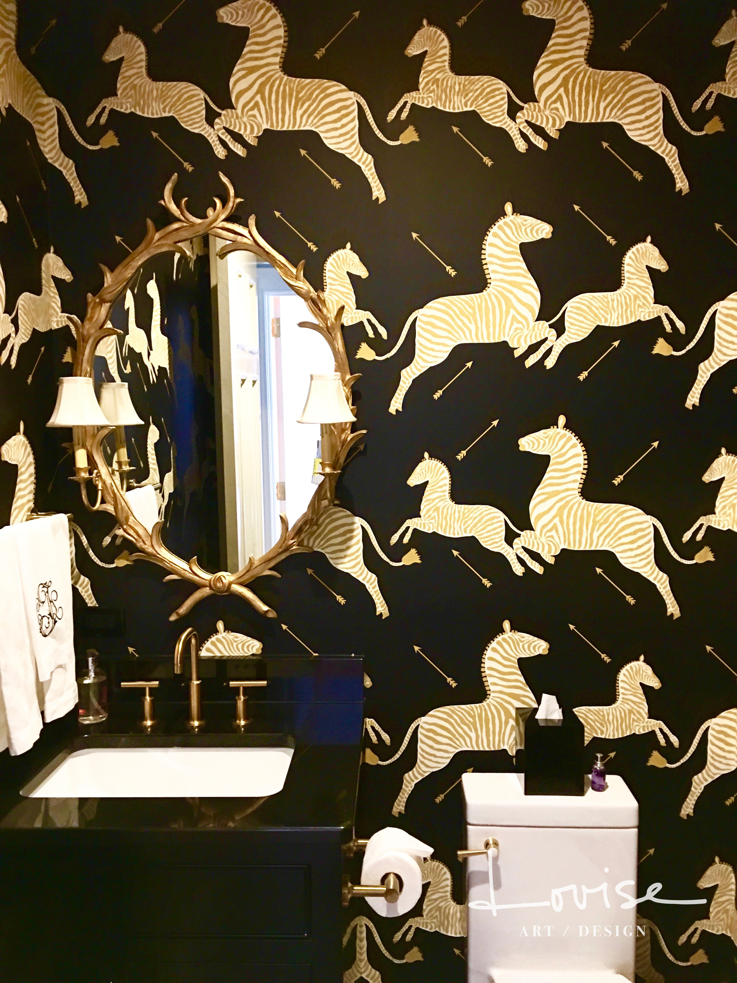 Powder room with black and gold zebra wallcovering