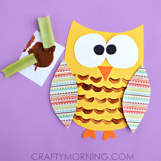 This celery stamped owl craft from  Crafty Morning  uses simple supplies to make quite an adorable little owl.