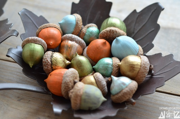 "Take a fall walk with a ""mission"", collect acorns! After painting them they can make a beautiful centerpiece. Instructions can be found here on  Home Stories A to Z  's blog post."