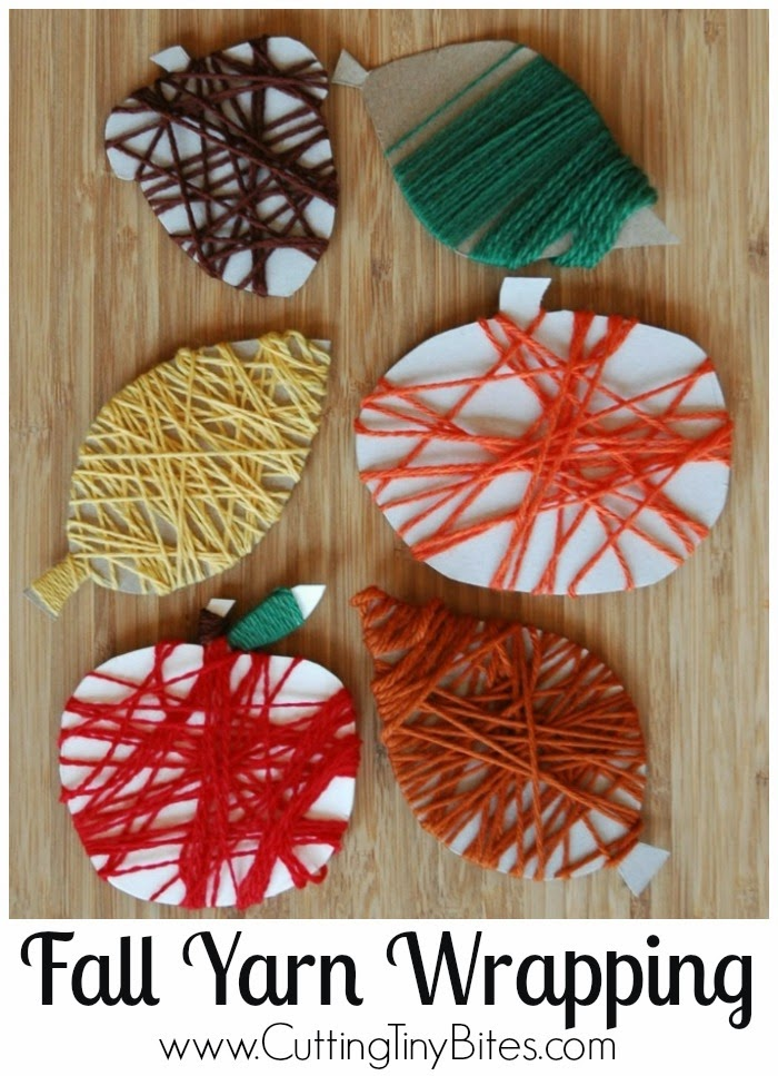 Work on fine motor skills with your younger kids,  Paper and Glue  gives some great ideas on shapes and colors to wrap with yarn.